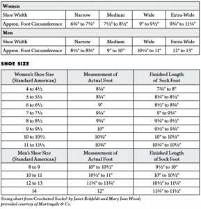 Shoe width chart for crochet socks