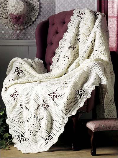 Free Crochet Afghan Patterns Intermediate : Assorted Crochet Afghan Patterns - Elegant Pineapple Afghan