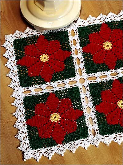 Free Crochet Pattern Christmas Doily : Crochet Doilies - Poinsettia Doily I