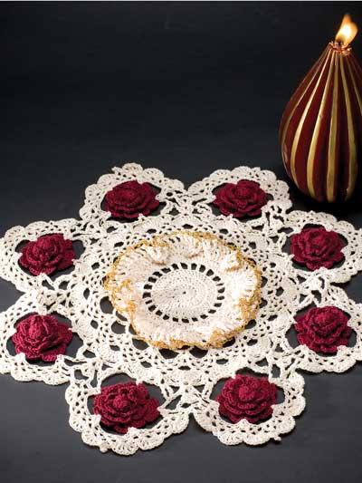 Free Crochet Pattern Christmas Doily : Crochet for the Home - Crochet Decor Patterns - Christmas Rose