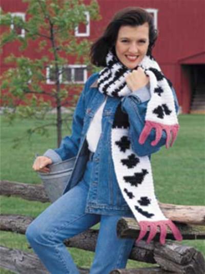 Udderly Silly Scarf Free Crochet Cow Scarf Pattern